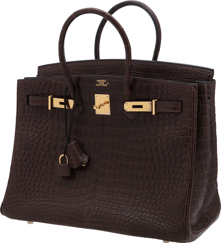 Hermes 35cm Matte Havane Porosus Crocodile Birkin Bag with Gold Hardware 0599b2419b2b0