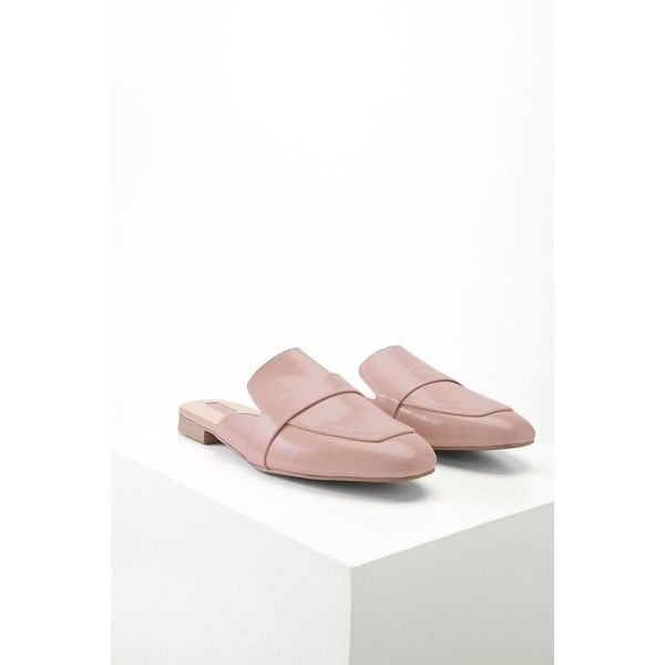 Forever21 Faux Leather Loafer Mules ($23) found on Polyvore featuring  women's fashion, shoes