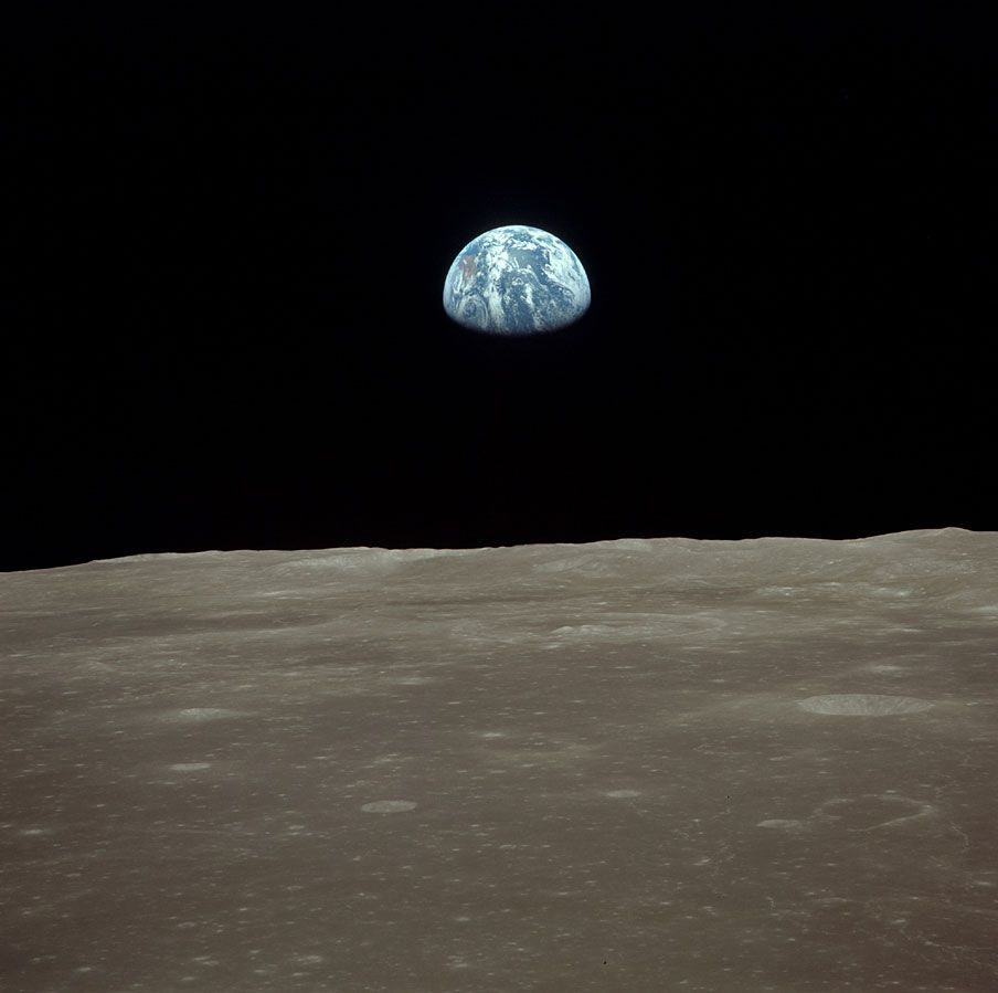 """AS11-44-6559 by (NASA JSC).  Image number AS11-44-6559 is one of a series of images taken during the legendary flight of Apollo 11 as it emerged from behind the dark side of the moon for the first time.  These images are the very first images of our planet as seen from the Moon.  And forever changed the way we looked at the world.  Apollo 11 was the spaceflight which landed the first humans, Neil Armstrong and Edwin """"Buzz"""" Aldrin, Jr, on Earth's Moon on July 20, 1969, at 20:17:39 UTC. The…"""