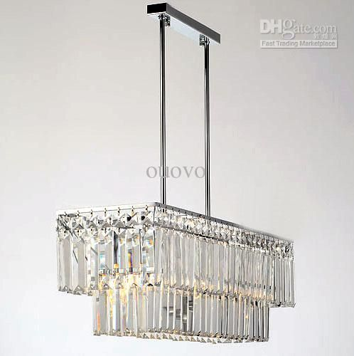 651962cm Rectangle Crystal Polished Chrome Pipe Erected Ceiling Lamp Restaurant Dining Room Modern Pendant Light Chandelier