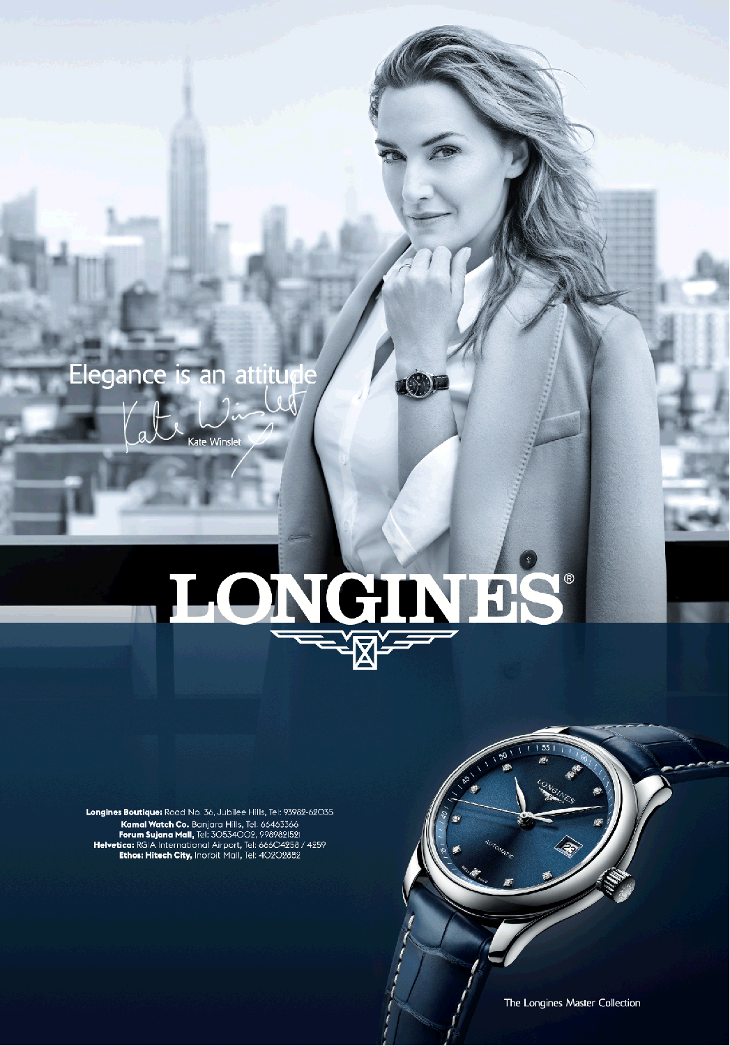 Longines Watches Elegance Is An Attitude Ad Times Of India Hyderabad Https Www Advertgallery Com Product Tag Watches Longines Watch Longines Kate Winslet
