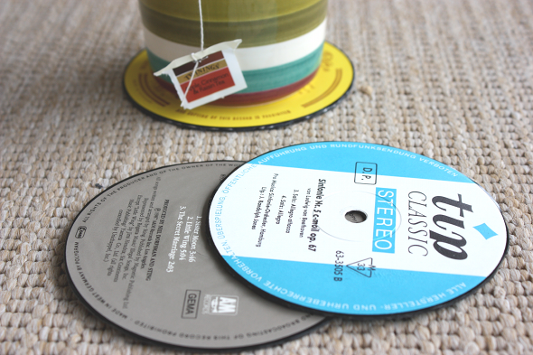 Super Easy Way To Make Recycled Vinyl Coasters That Are So