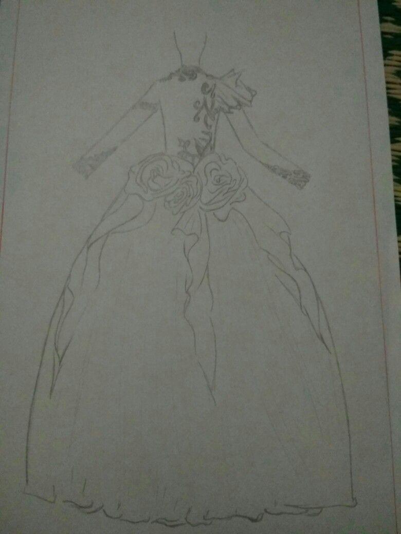Desain sketsa gaun pengantin tampak belakang kombinasi kebaya