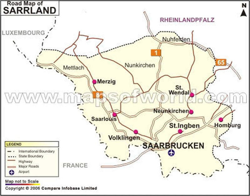 Saarland Road Map Germany Maps Pinterest