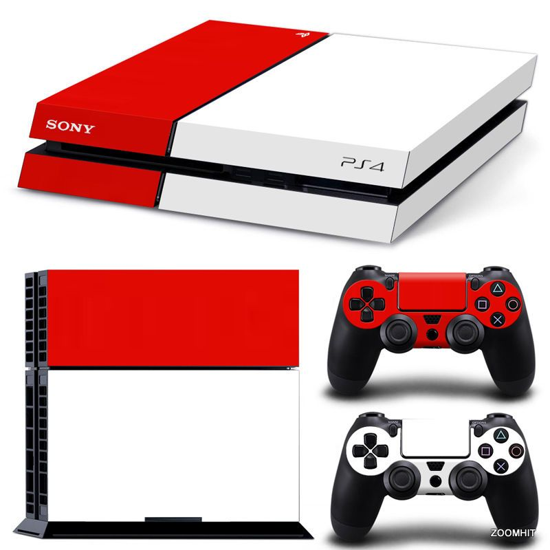 Ps4 playstation 4 console skin decal sticker white and red 2 controller skins