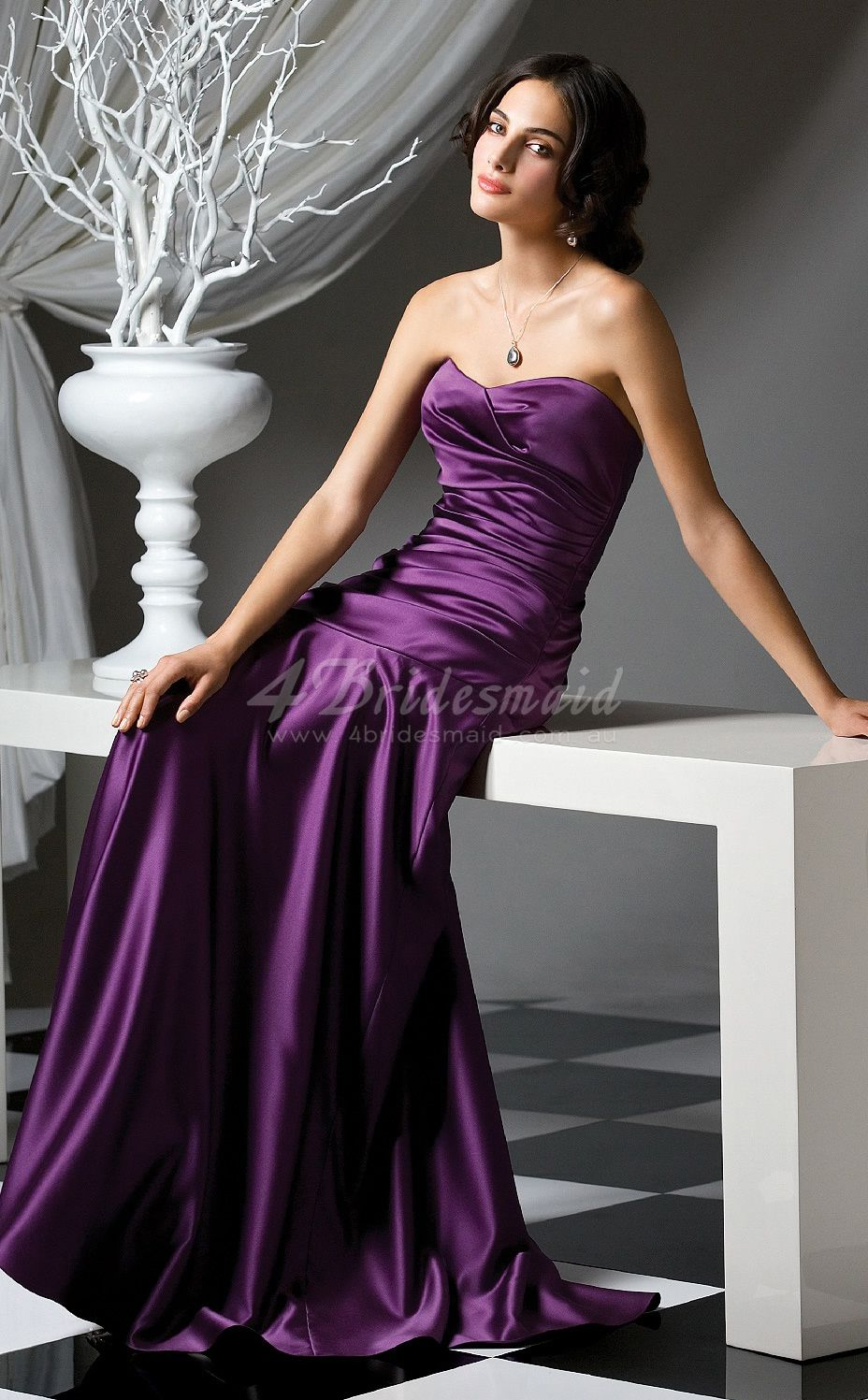 Grape stretch satin aline sweetheart floorlength bridesmaid