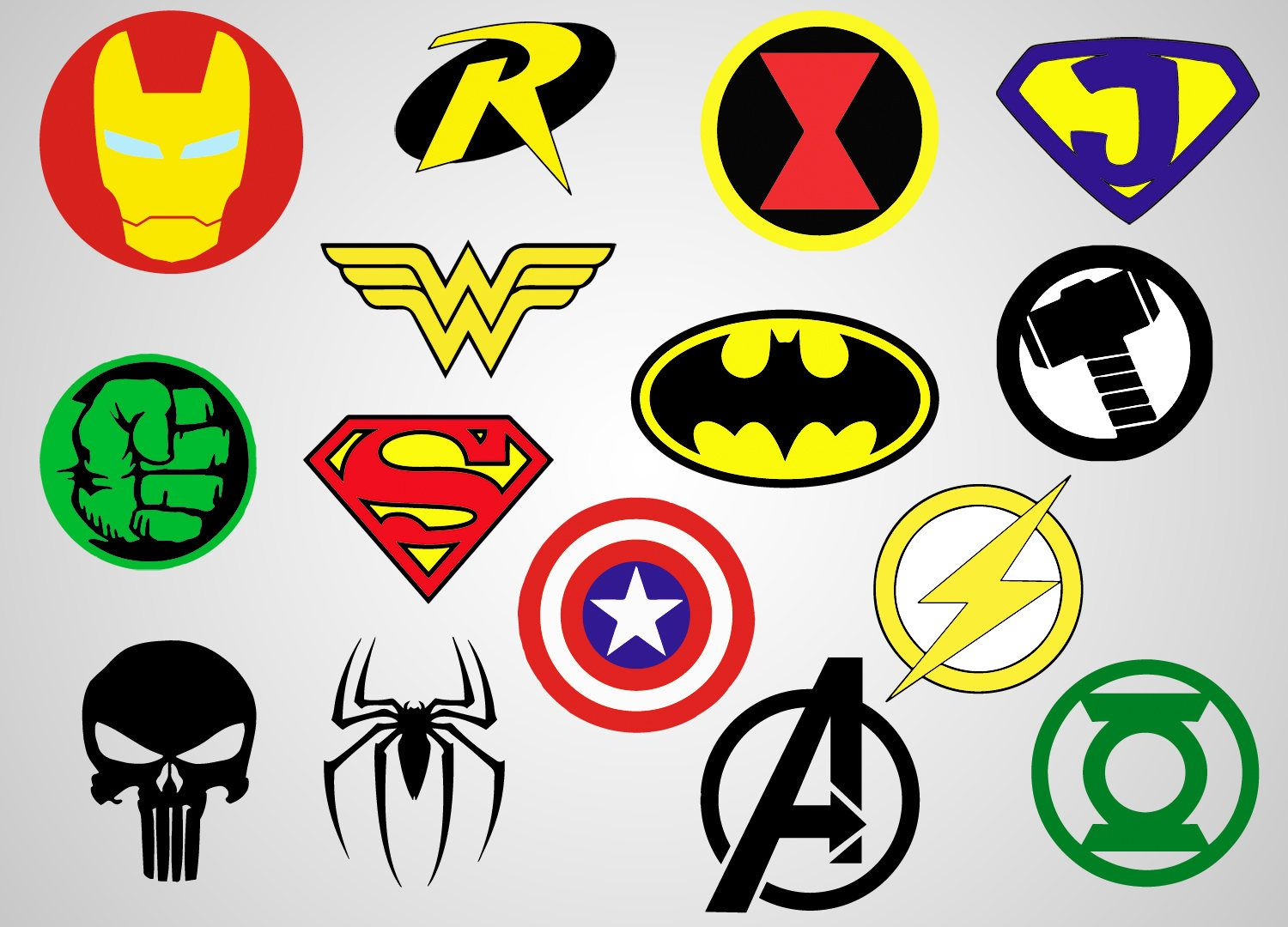 Superheroes Logos Vinyl Decal SVG file Printable