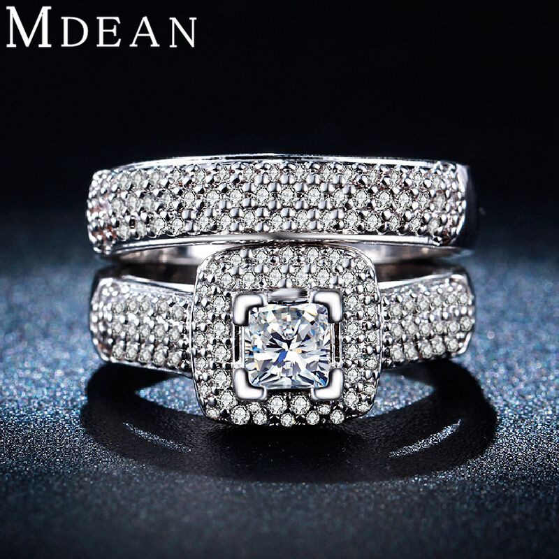 Mdean wedding ring set per le donne oro bianco anello di colore vintage bague wedding fidanzamento donne anelli bijoux accessori msr149