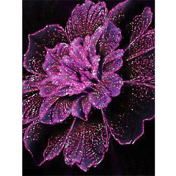 Diamond Purple Flower Full Drill Square Diamond Painting Kit **Original diamond painting kit, design is exclusively available from OLOEE!**   100% Money Back Guarantee.  Fast Delivery Available.  99.5% Reviewers Recommends This Product.  Pasting Area: Full Coverage Diamond Shape: Square Diamond painting is an easy and
