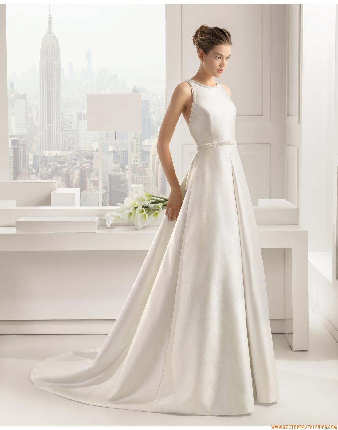 Ausgefallene Schlichte Günstige Brautkleider aus Taft mit Schleppe ...
