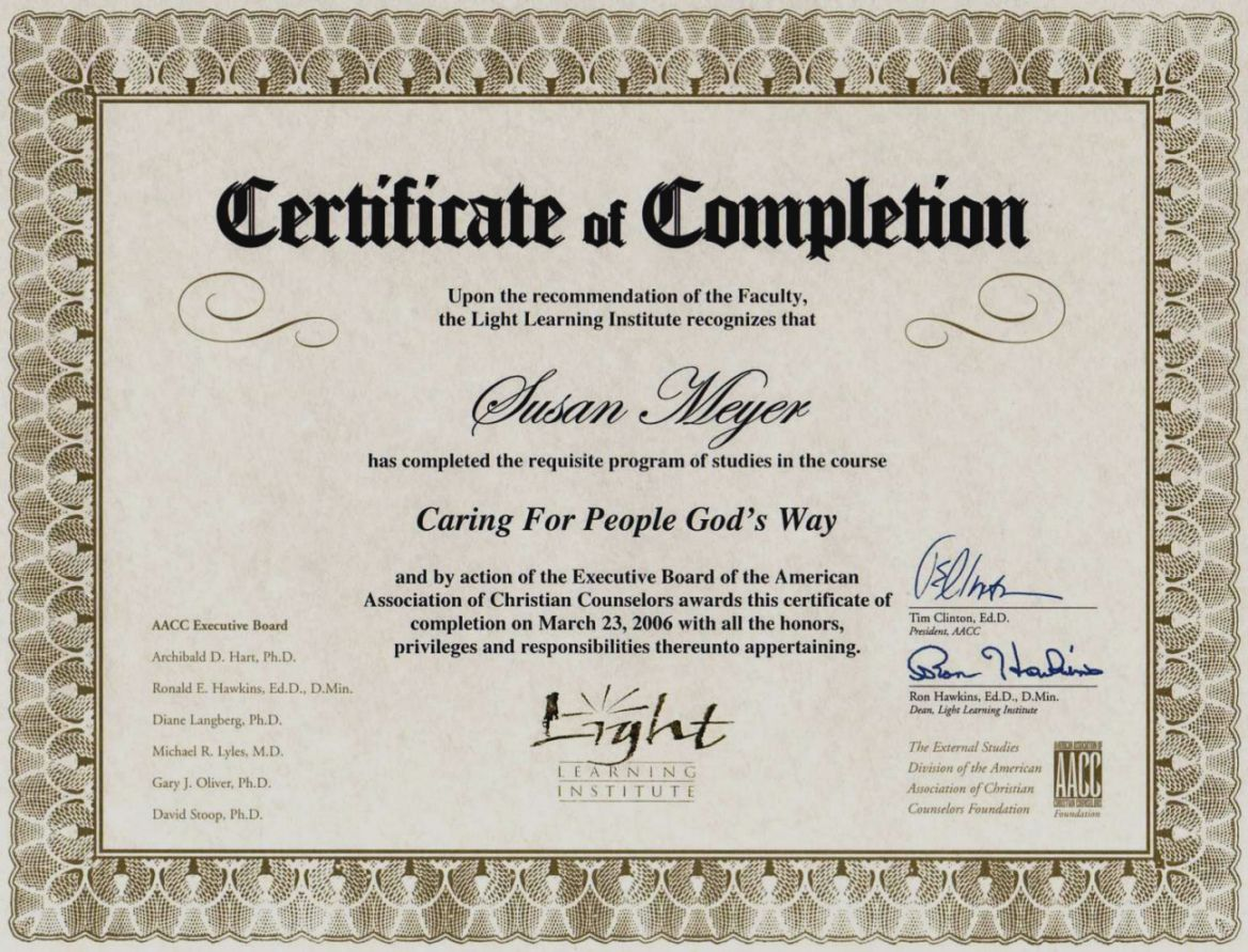 Premarital Counseling Certificate Template In With