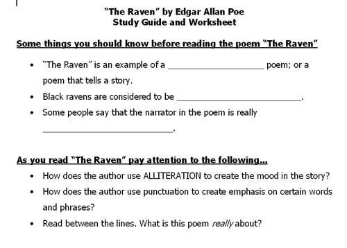 The Raven poem worksheet – Mood and Tone Worksheets