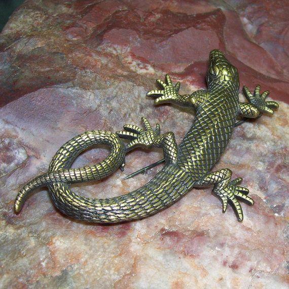 Vintage Lizard Pin / JJ Salamander Pin / by GypsumMoonStyle, $18.00