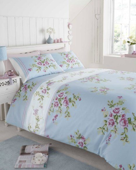 super king size 100 cotton flannelette blue with pink roses duvet cover bed set