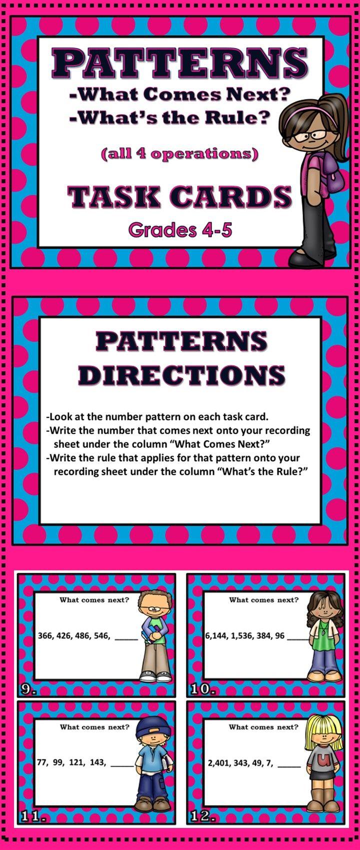 Patterns Task Cards - Grades 4-5 | Math patterns, 4th grade