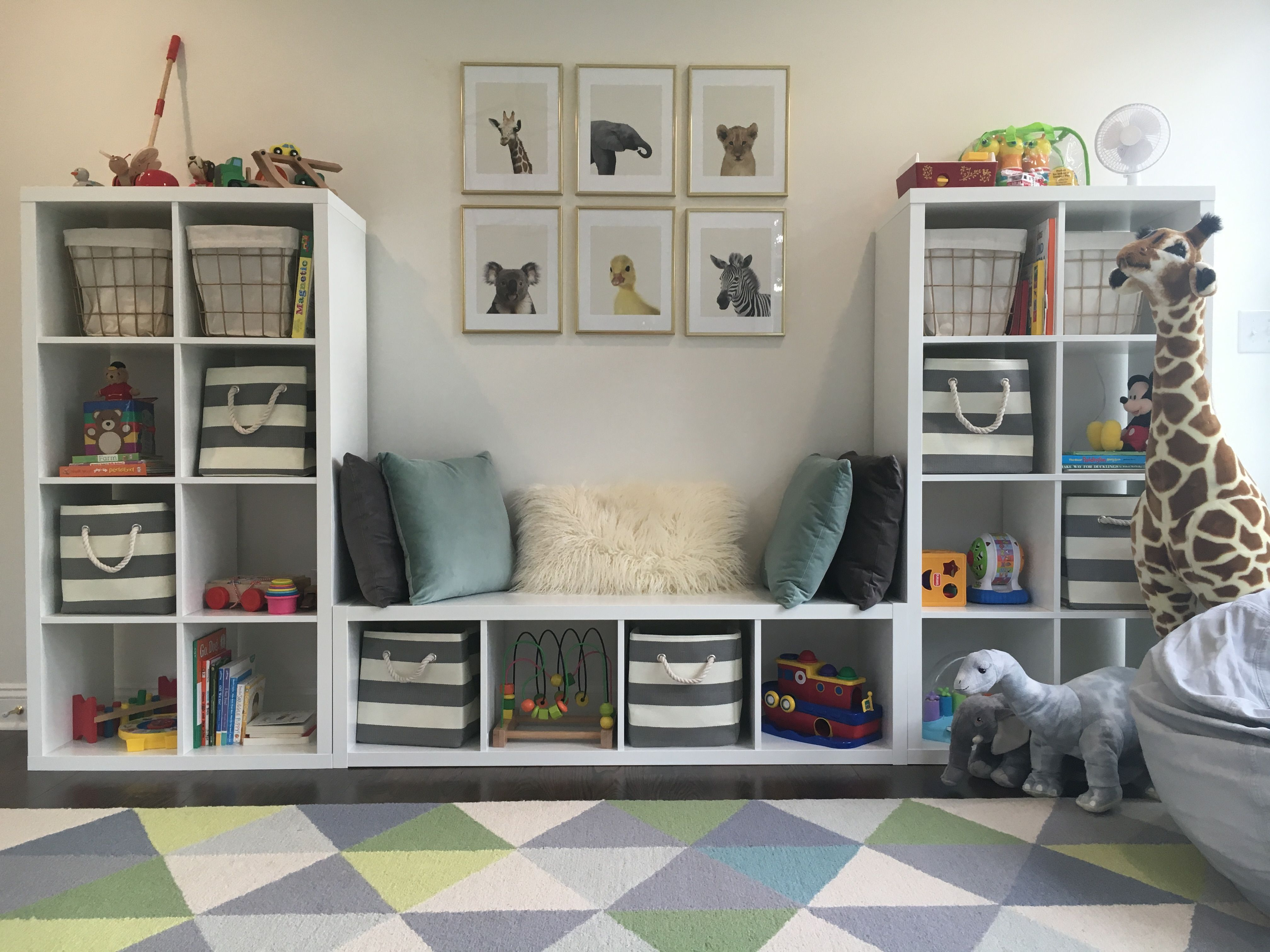 Playroom toddler room baby animals blue gray white gold Ikea media room ideas