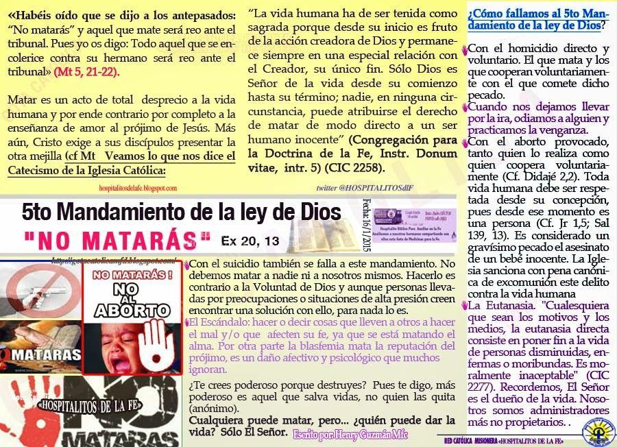 Gota Católica 5to Mandamiento De La Ley De Dios No