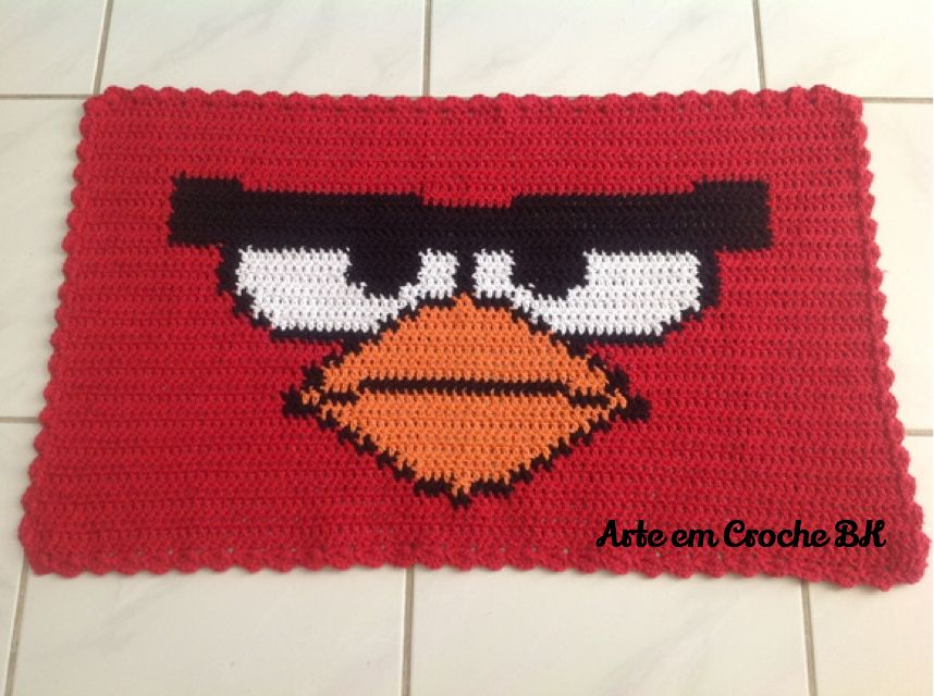 Tapete Angry BIRD | Tapete Croche Angry Birds | Pinterest