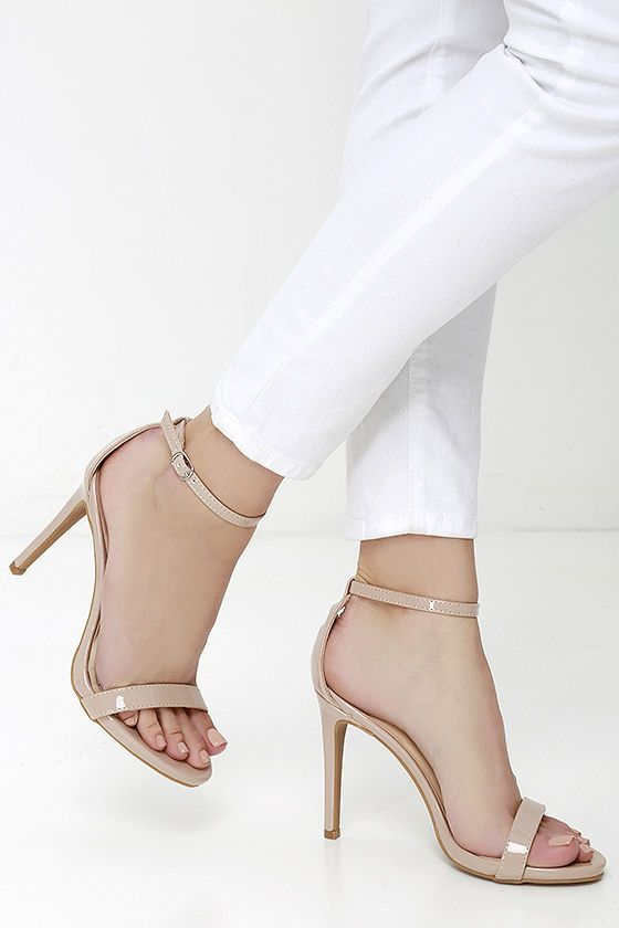 bad54df1c4 Loveliness Nude Patent Ankle Strap Heels in 2019