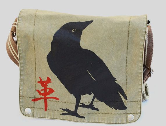 Canvas Messenger Bag, Rebel Crow