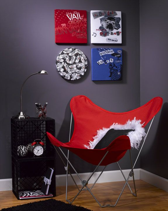Some people turn old t-shirts into quilts, others turn them into wall art!  Black/red accents