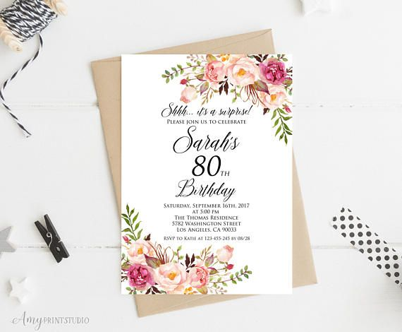 Surprise 80th Birthday Invitation Women Any Age Invite PERSONALIZED Digital File W01