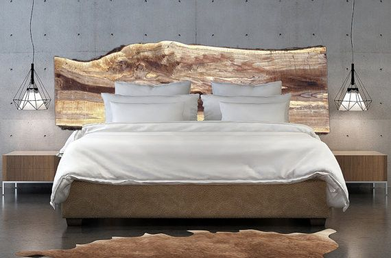 Beautiful Custom Live Edge Wood Slabs Hand Made Into Very Unique Wooden Headboards For Your Rustic Or Modern Bedroom Decor