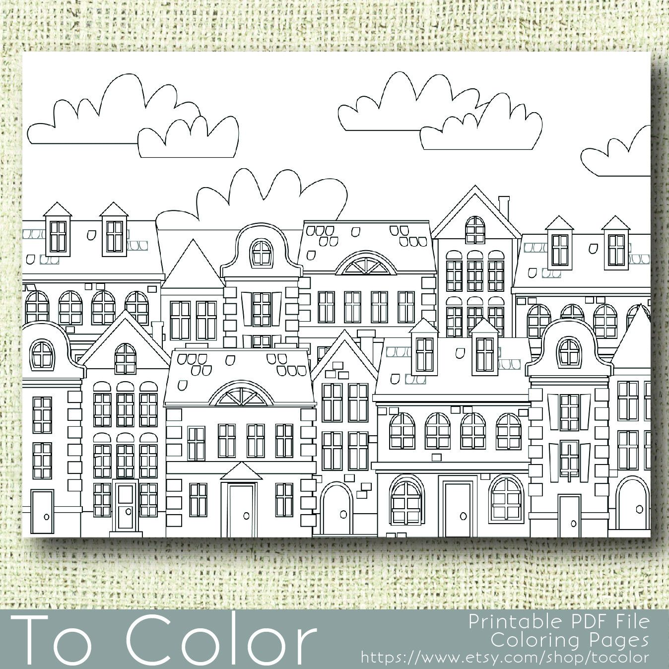 Printable Houses Coloring Page for Adults, PDF / JPG, Instant ...