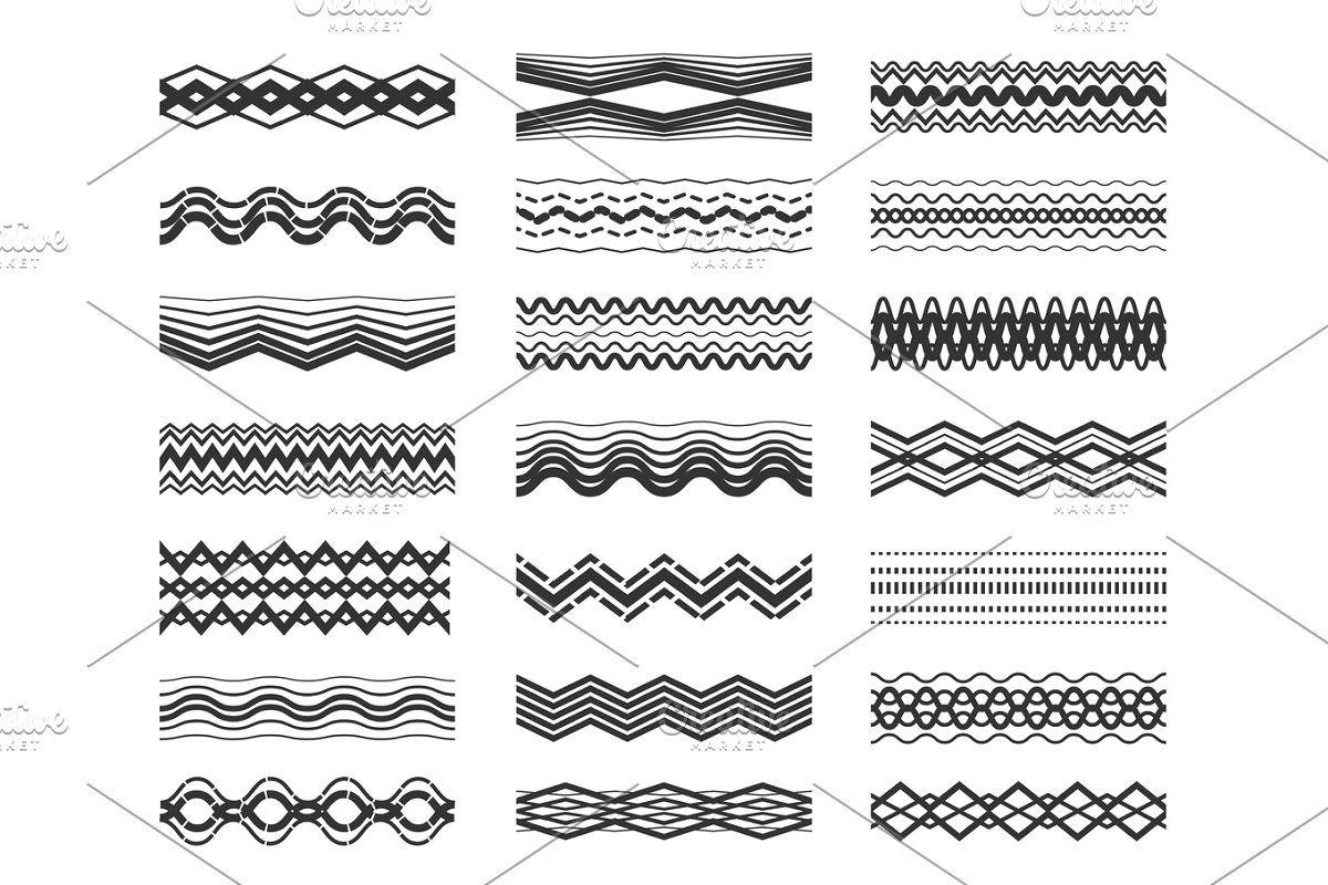 Zigzag And Wavy Line Patterns Set Line Patterns Zig Zag Print Seamless Patterns