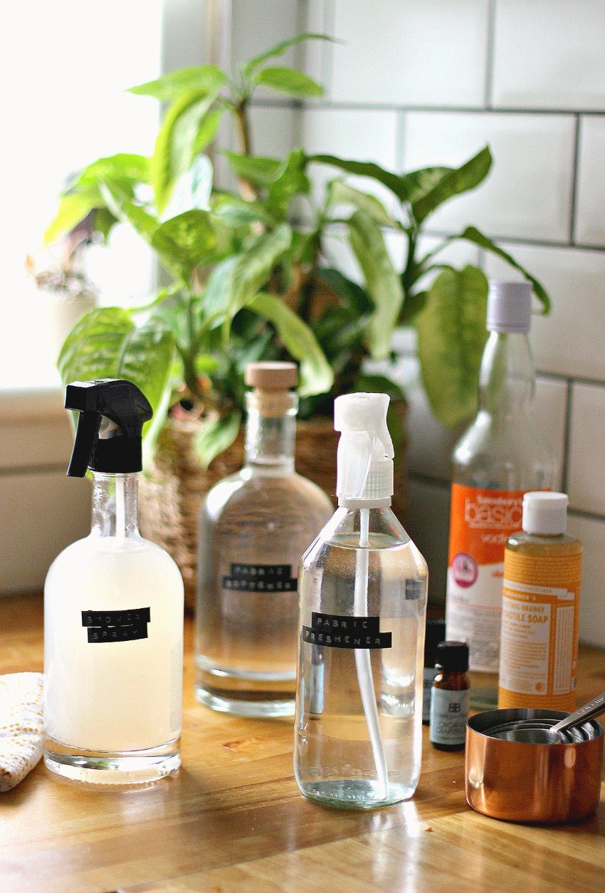 Recycle bottles to store homemade cleaning solution