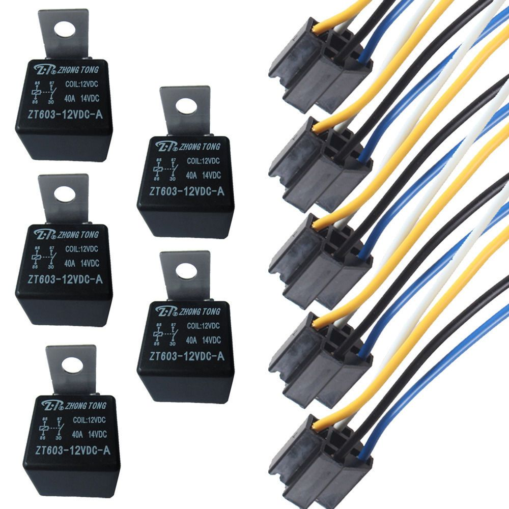 hight resolution of ee support 5pcs car automotive 12v 40a amp spst relay socket harness 4 pin 4p