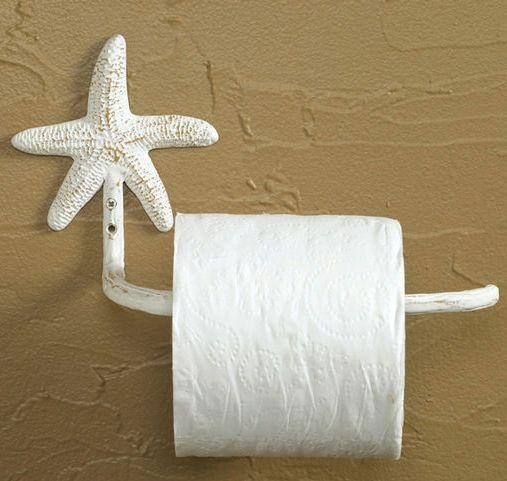 Captivating Starfish Toilet Paper Holder (White) Nautical Beach House Bathroom Decor