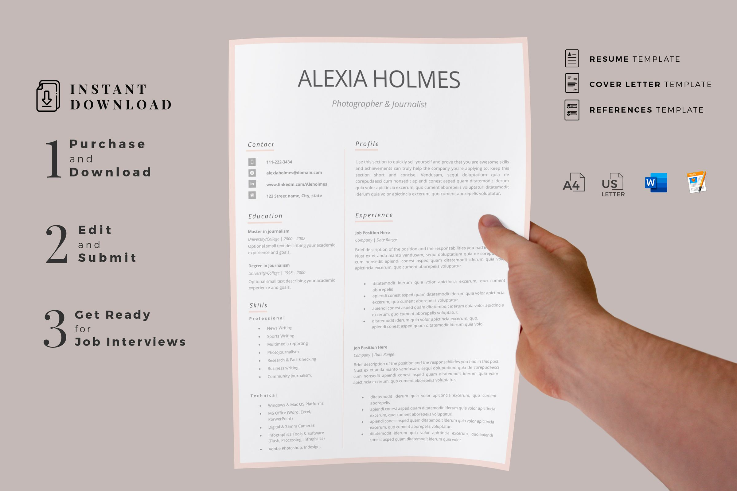 Creative Resume Templates For Ms Word And Mac Pages Professional Resume Templates And Matching Co Creative Resume Templates Modern Resume Design Resume Design