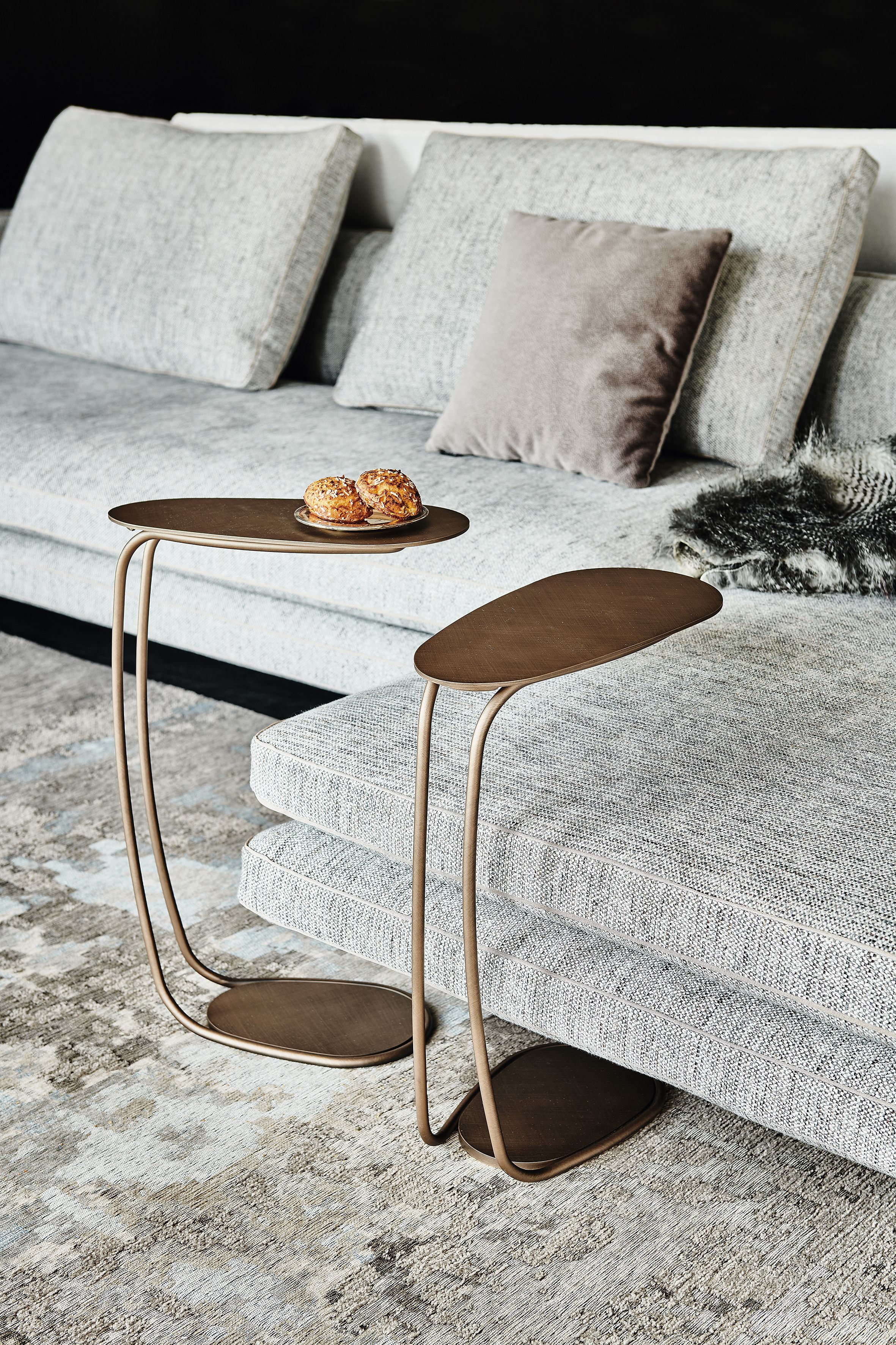 Side Table With Frame And Top In Titanium Gfm11 Embossed Lacquered Steel Or Brushed Bronze Coffee Table Furniture Side Tables Table Furniture