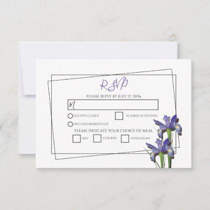 Elegant Purple Iris Wedding Rsvp Cards Zazzle Com Rsvp Wedding Cards Iris Wedding Wedding Rsvp