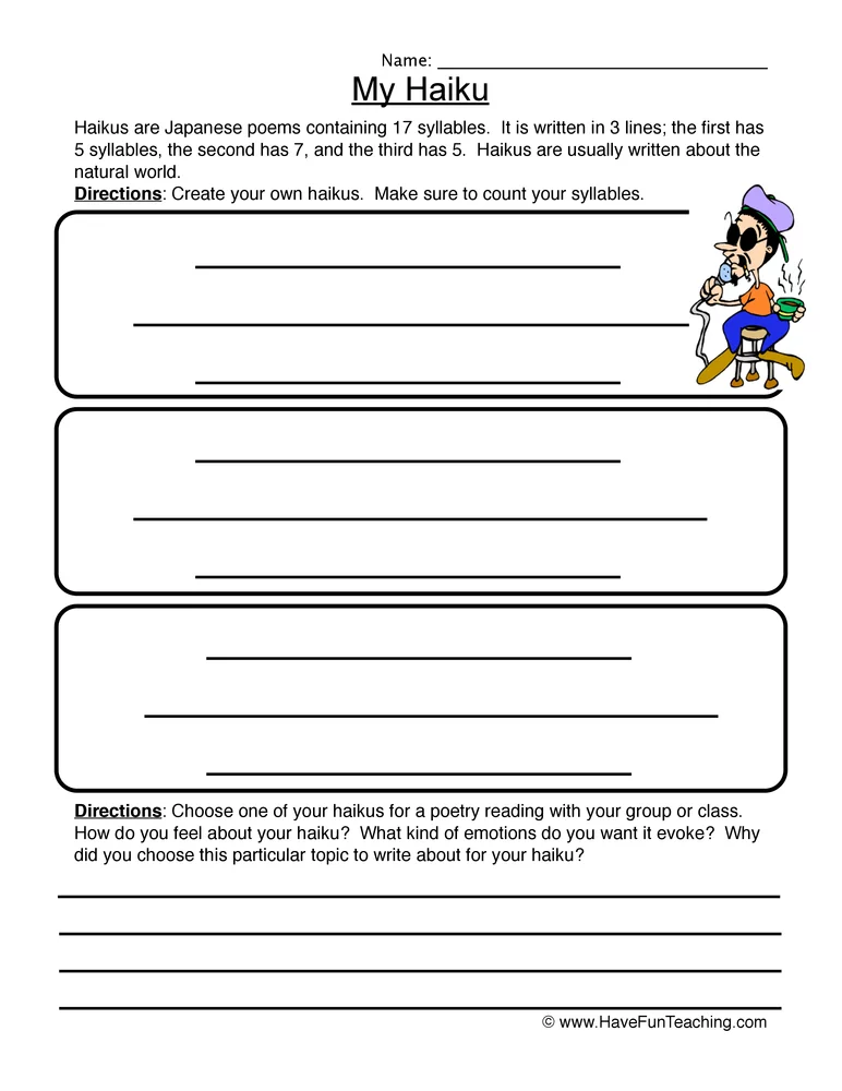 My Haiku Worksheet Poetry worksheets, Have fun teaching