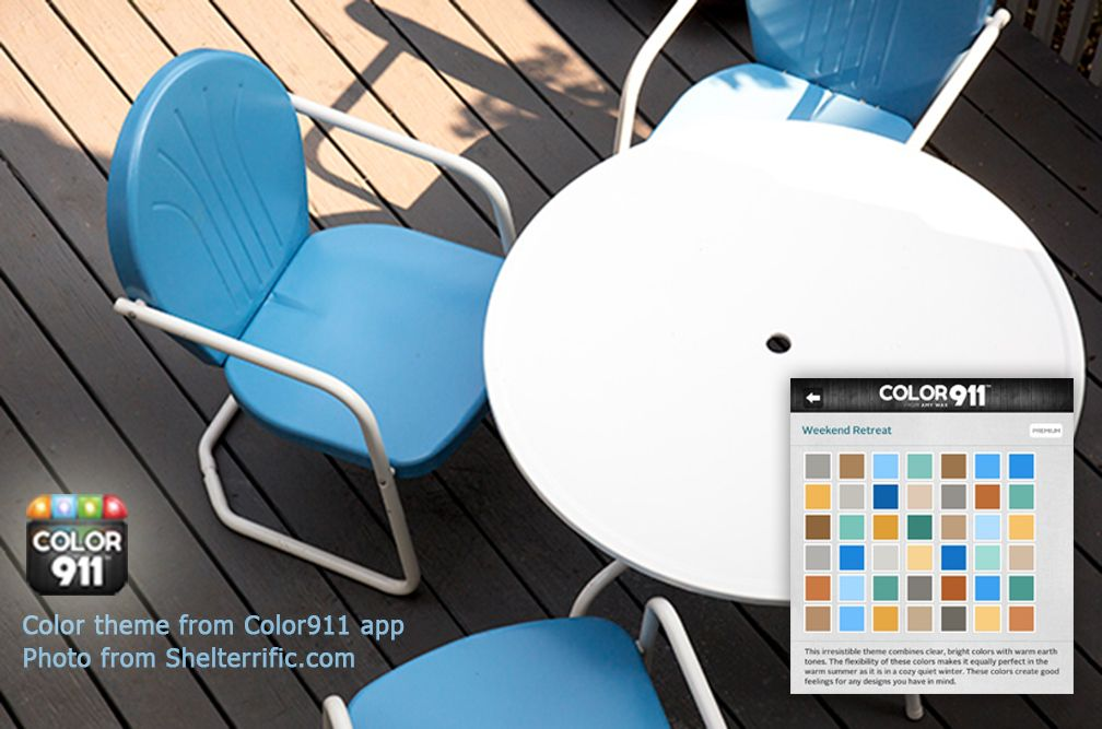 Add furniture color to your deck. Use a color theme from Color911 app, to show you how to add colors for everything else you use outside; glasses, dishes, napkins, planters, you name it! #Color911 #app #color