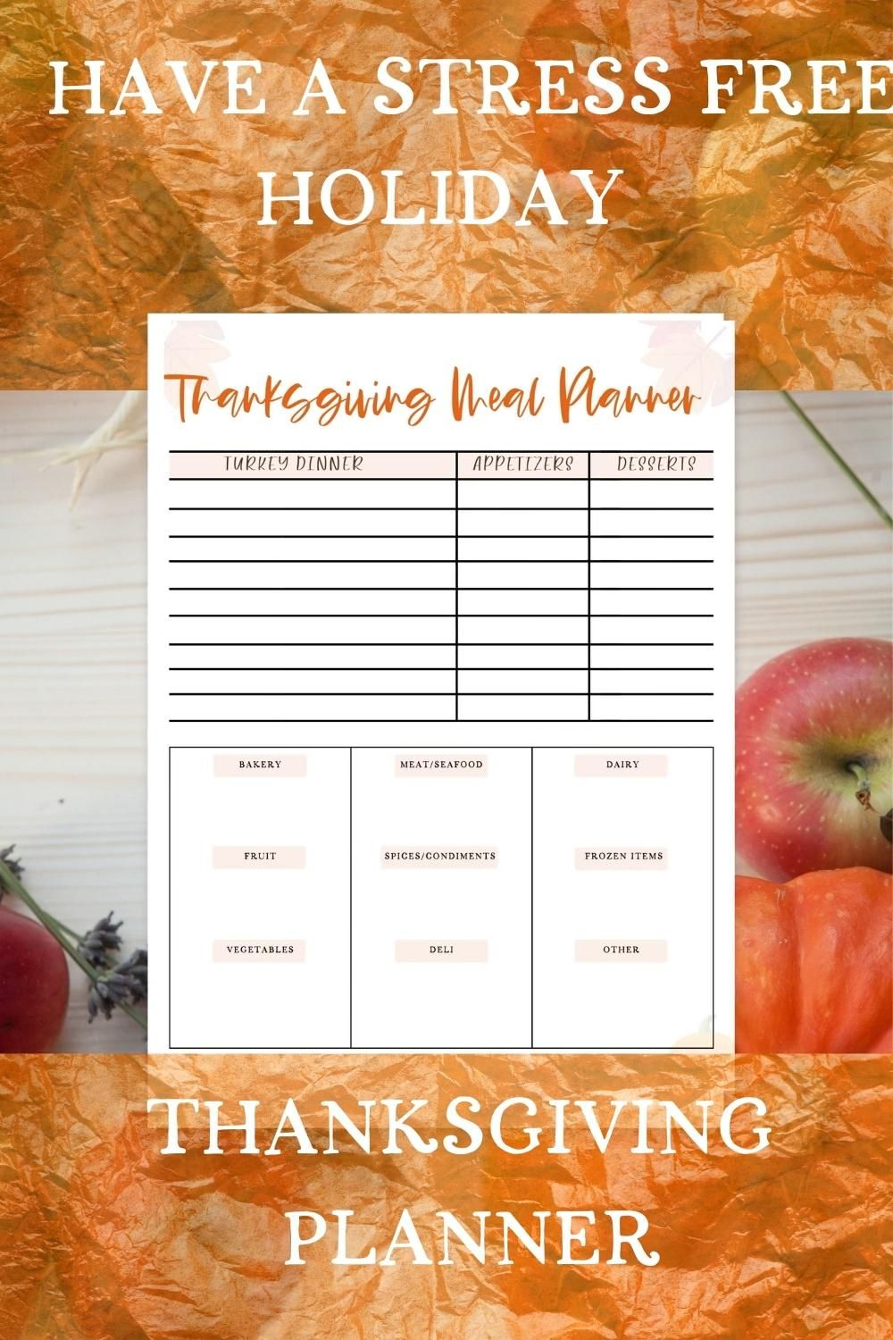 This Thanksgiving Planner comes with a meal planner, grocery list, meal prep page, and a ten day overview of your Thanksgiving week. No need to be stressed during the holiday. Plan ahead to for a stress-free Thanksgiving.
