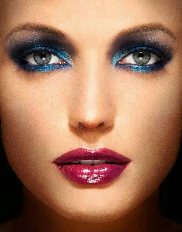 Blue Eyeshadow And Red Lipstick Eye Makeup Blue Eye Makeup Lip