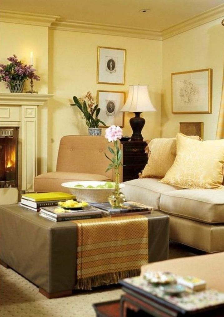 Gold Accent Wall With Orange Sofa Set For Luxury Living Room Ideas ...