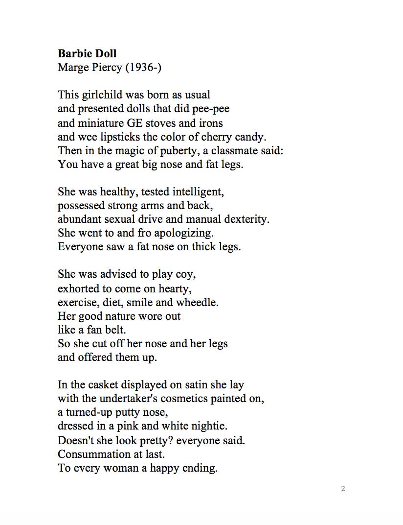 barbie poem by marge piercy