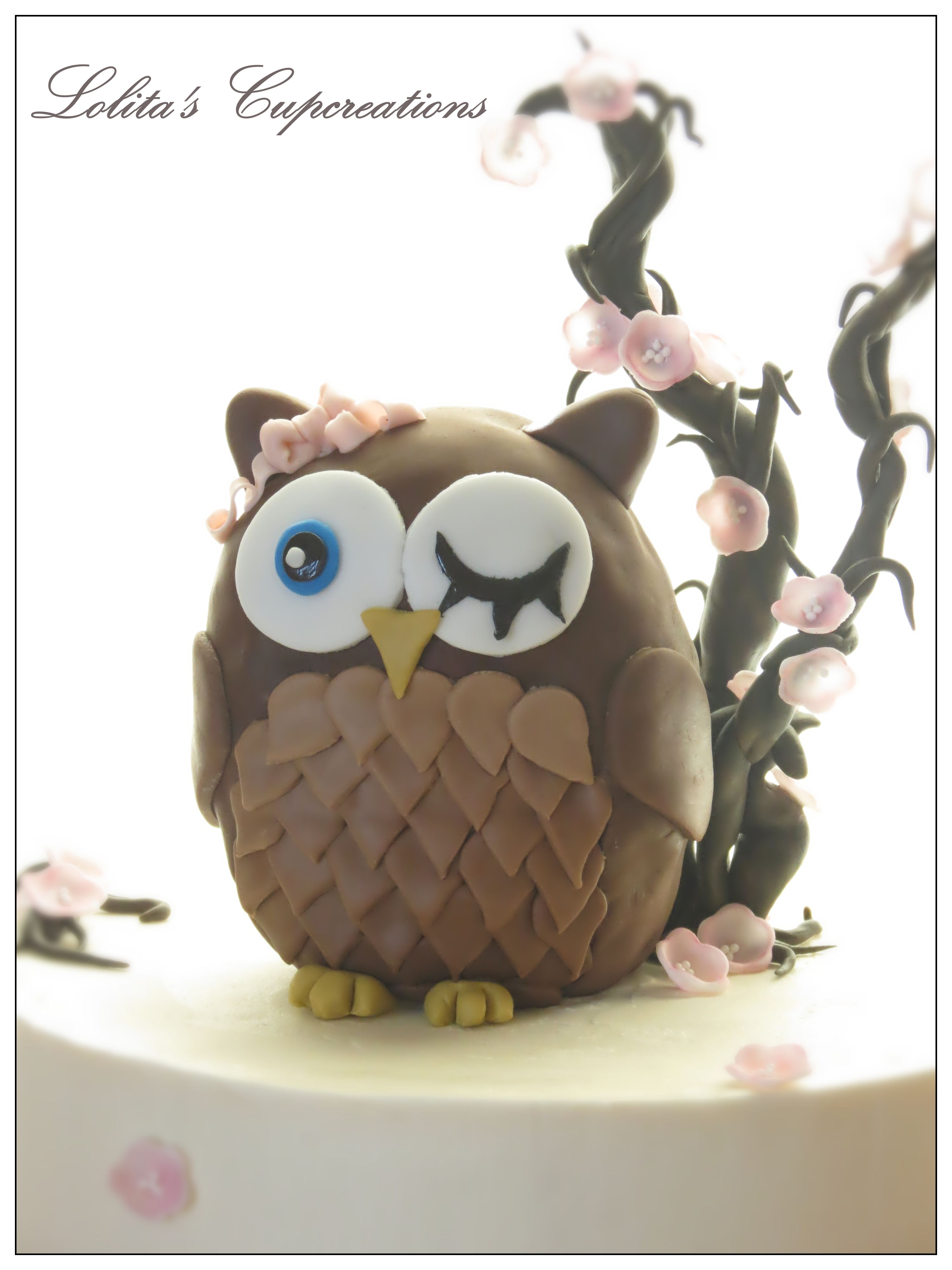 Lolita's Cupcreations (Owl and Cherry Blossoms inspired cake)