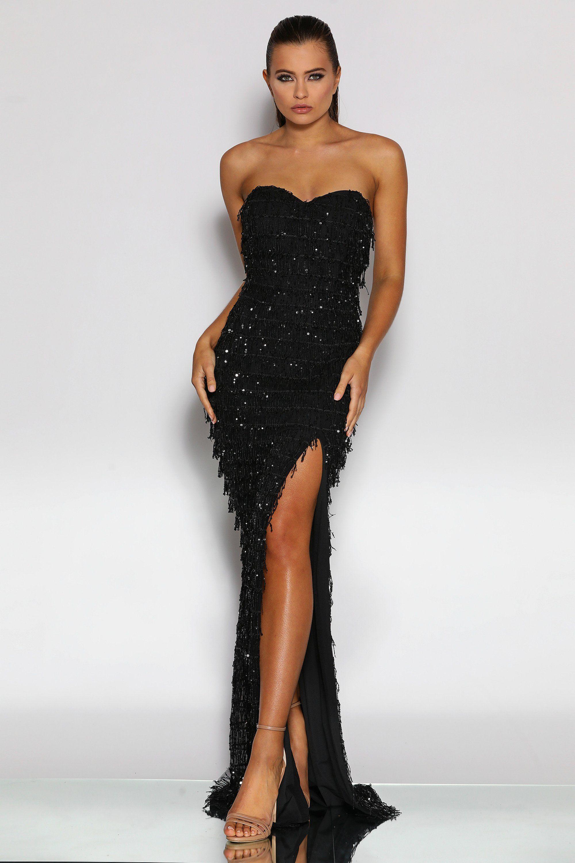 Jadore Jx2033 Strapless Black Fringing Tassel Sequin Formal Dress Sequin Formal Dress Dresses Designer Formal Dresses [ 3000 x 2000 Pixel ]
