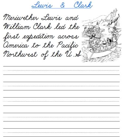 free printable worksheet practicing cursive handwriting and learning about lewis and clark and. Black Bedroom Furniture Sets. Home Design Ideas