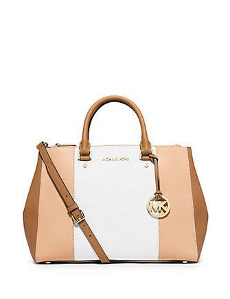 MICHAEL MICHAEL KORS Sutton Large Color-Block Saffiano Leather Satchel Bag