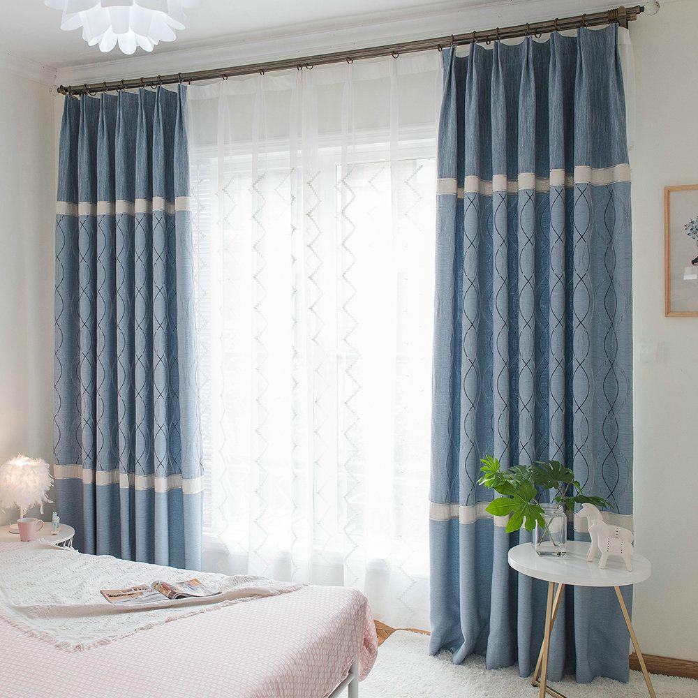 Moderner Vorhang Minimalismus Blau Jacquard Im Schlafzimmer Zu