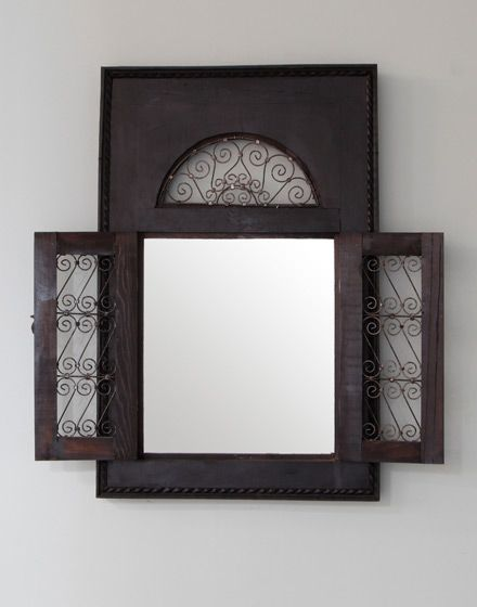 Wrought Iron Moroccan Wooden Framed Mirror | Morocco, Middle Eastern ...