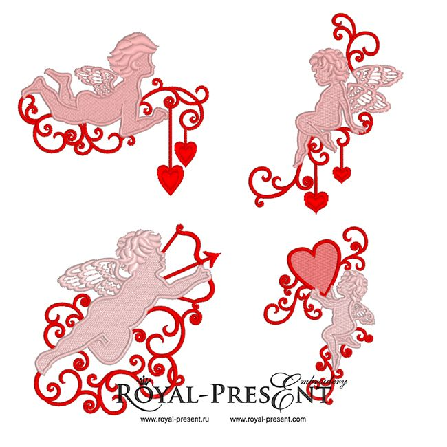 4 Machine Embroidery Designs - Elements for valentines day with Angels