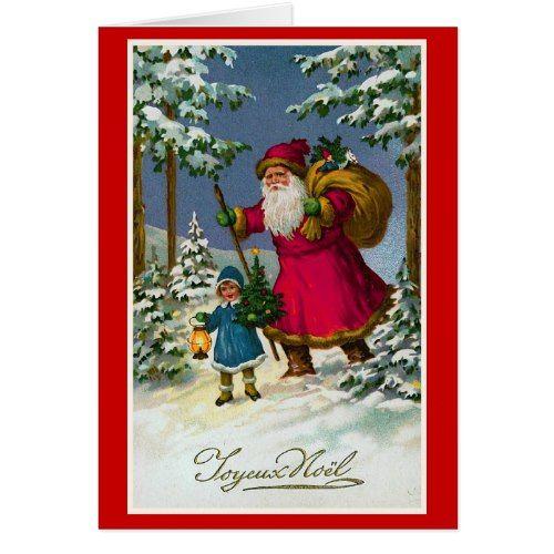 Joyeux Noel Vintage French Christmas Holiday Card Zazzle Com French Christmas Cards Custom Christmas Cards Vintage Christmas Greeting Cards