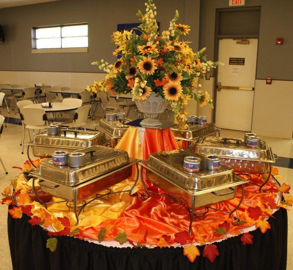 Classy Buffet Table Decoration Ideas featuring Round Shape
